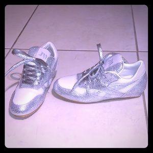 Brand New Rhinestone White & Silver Sneakers